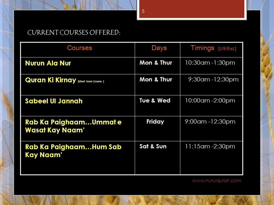 CURRENT COURSES OFFERED: Courses Days Timings [US/Est.] Nurun Ala Nur